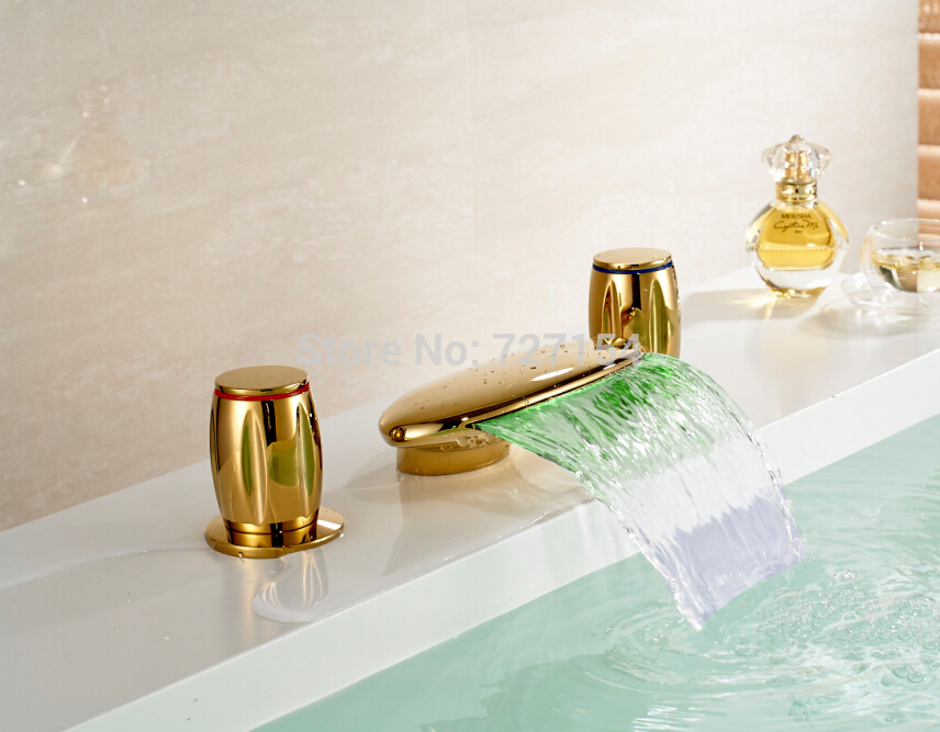 Здесь продается  Free Shipping! Modern LED Bathroom Basin Faucet Golden Brass Sink Mixer Tap Dual Handles Faucet  Строительство и Недвижимость
