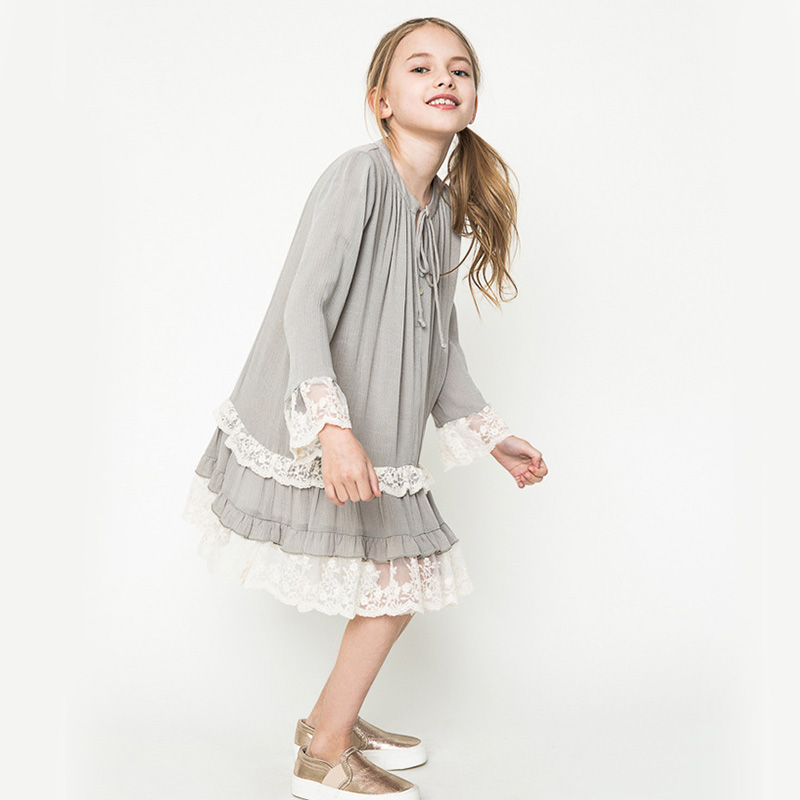 Girls Lace Dresses 100% Cotton Kids Party Clothing Costume Dress for Teenage Girls Clothes 7-14 Years 2017 Spring&Summer Dress
