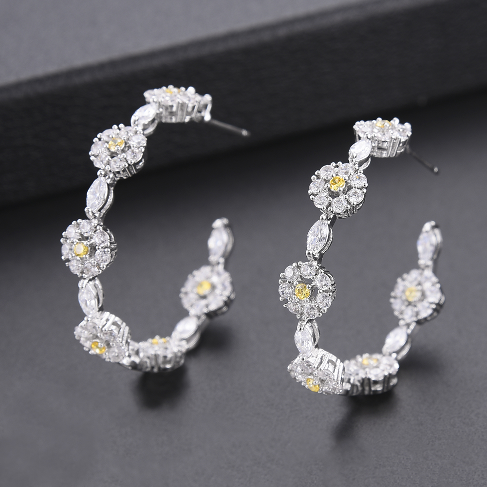 GODKI Luxury Cubic Zircon Daisy Flower Big Hoop Earrings for Women Wedding Fashion Party Jewelry Engagement Brincos Femme 2018 godki hollow leaf flower climbers round circle cubic zircon women engagement earrings jewelry party gift