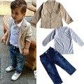 Europeo de la manera muchachos de la ropa de mezclilla del bebé niños chaqueta de los muchachos + polo + denim pants 3-piezas de los niños ropa vaquera conjuntos