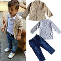 european fashion boys denim clothing sets baby kids boys jacket+polo shirt+denim pants 3-piece children denim clothing sets