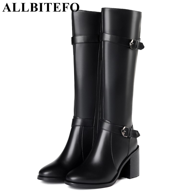 все цены на ALLBITEFO thick heel genuine leather women boots fashion brand high heels women knee high boots winter snow boots girls shoes онлайн