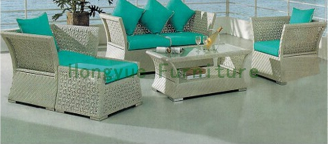 New pe wicker sofa with cushions in garden sets