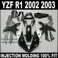 Custom Full injection fairings sets for YAMAHA R1 2002 2003 YZF R1 02 03 black white motorcycle repair fairing parts