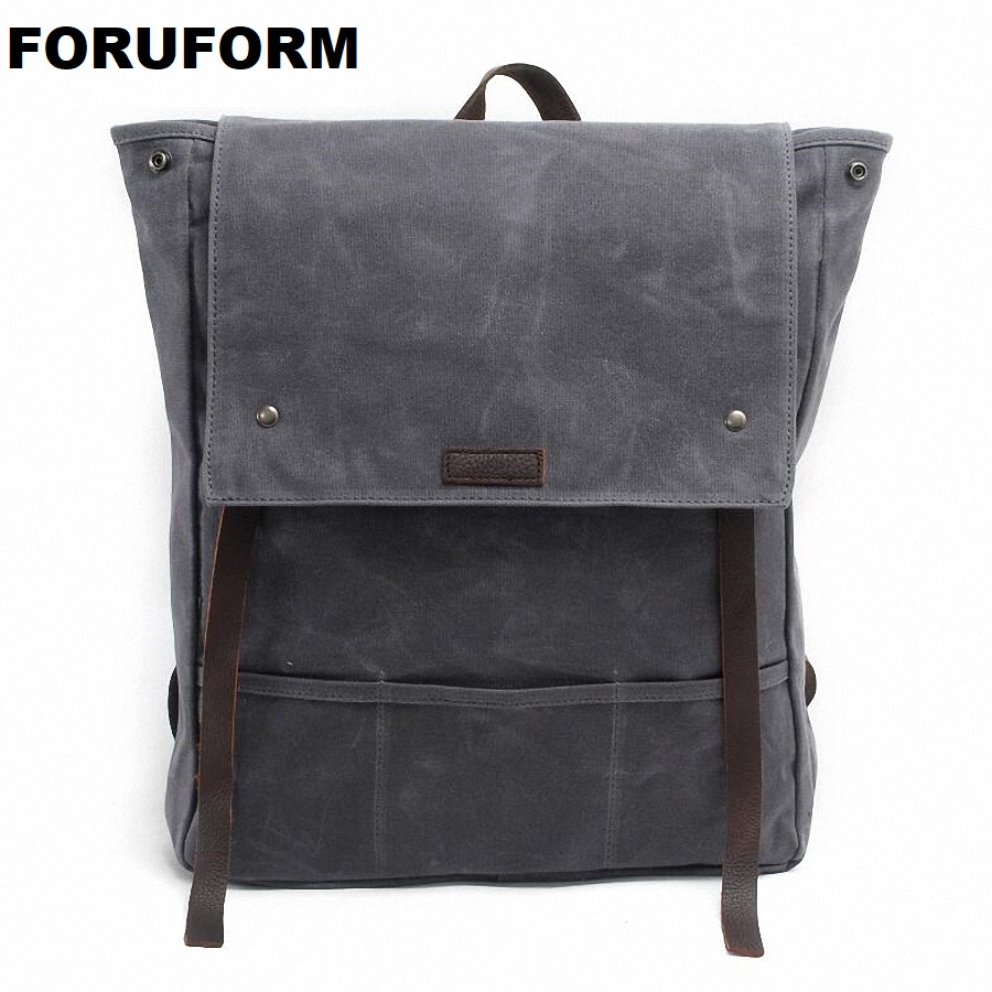 Rucksack Men's Canvas Backpack Leisure Travel Bag 15 Inch Laptop Backpack Vintage Fashion Men's Backpacks School Bags LI-1258 new vintage backpack canvas men shoulder bags leisure travel school bag unisex laptop backpacks men backpack mochilas armygreen