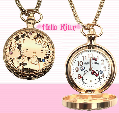 Anime Hello Kitty cartoon child student flip Pocket watch Cute girl pink Hello Kitty necklace bow-knot electronic watch cosplay