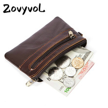 ZOVYVOL Genuine Leather Unisex Coin Purses Mini Wallets Pouch Zipper Small Bags New Money Bags Pocket Wallets Card Holder 2019 недорого