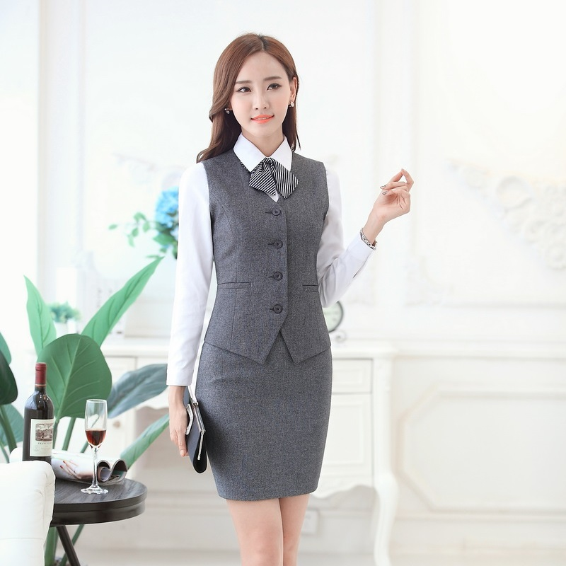 Fashion Women Business Suits with Skirt and Vest Waistcoat Sets Slim Female Work Wear Clothes Ladies Office Uniform Style OL  kleider weit