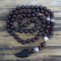 Quality 8MM Black Natural Stone Beads With Black Agate Wing Pendant Mens Rosary Necklace Wooden Beads