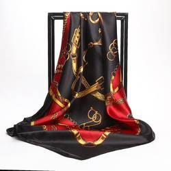 Летний женский шарф Шелковый принт платок атласный квадратный носок шарфы женские роскошные дизайнерские шали 90*90 см бандана большой
