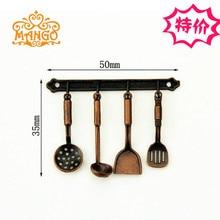 Mini Dollhouse Mini Kitchen Kitchen Utensil Utensil Copper Spatula Spoon Pendant Set