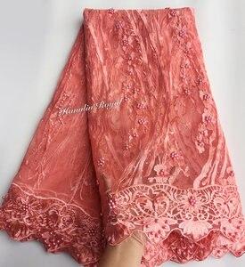 Image 4 - Nero Fucsia bella guipure delimitato Francese del merletto cucito tessuto di tulle maglia Africano del merletto con un sacco di perline 5 metri di buona la scelta