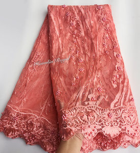 Image 4 - Preto fushia bonito guipure bordered francês rendas de costura tule tecido renda de malha africano com lotes de contas 5 metros boa escolha