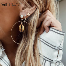 Sindlan 3Pairs Exaggerated Big Circle Gold Shell Earrings for Women Rhinestone Crystal Starfish Earrings Set Ear Studs Jewelry(China)