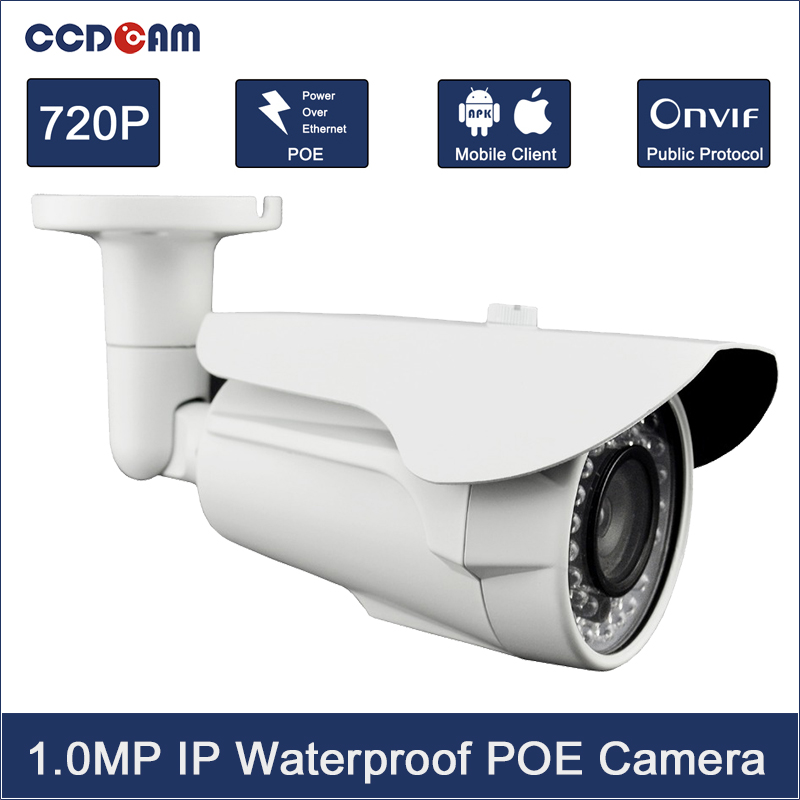 CCDCAM HD 1MP Security Camera System P2P Onvif IR Night Vision CMOS 720P IP Camera Outdoor POE EC-IW3007P poe audio hd 1 3mp 960p outdoor ir network ip camera 36 ir security onvif 2 1 p2p