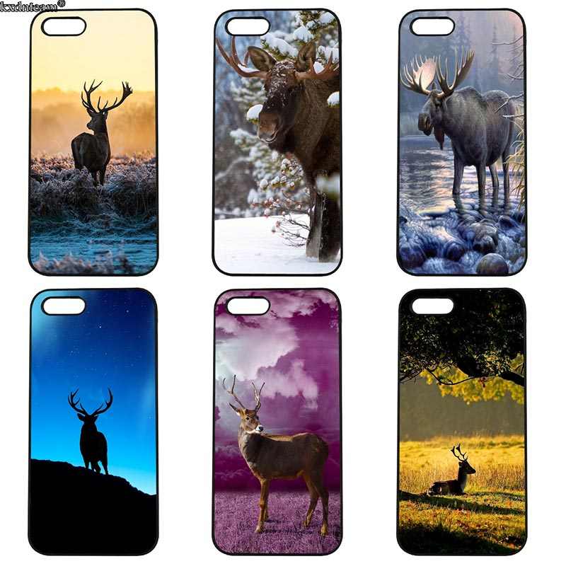 Greatest Wild Elk Deer Phone Case Hard PC Half Wrapped Cover Fitted for iphone 8 7 6 6S Plus X 5S 5C 5 SE 4 4S iPod Touch 4 5 6