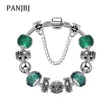 Silver Plated Bead Alloy Bracelet Green Owl Flower Snake Chain Basic Charm Bracelet For Fashion Women DIY Jewelry Gift недорого