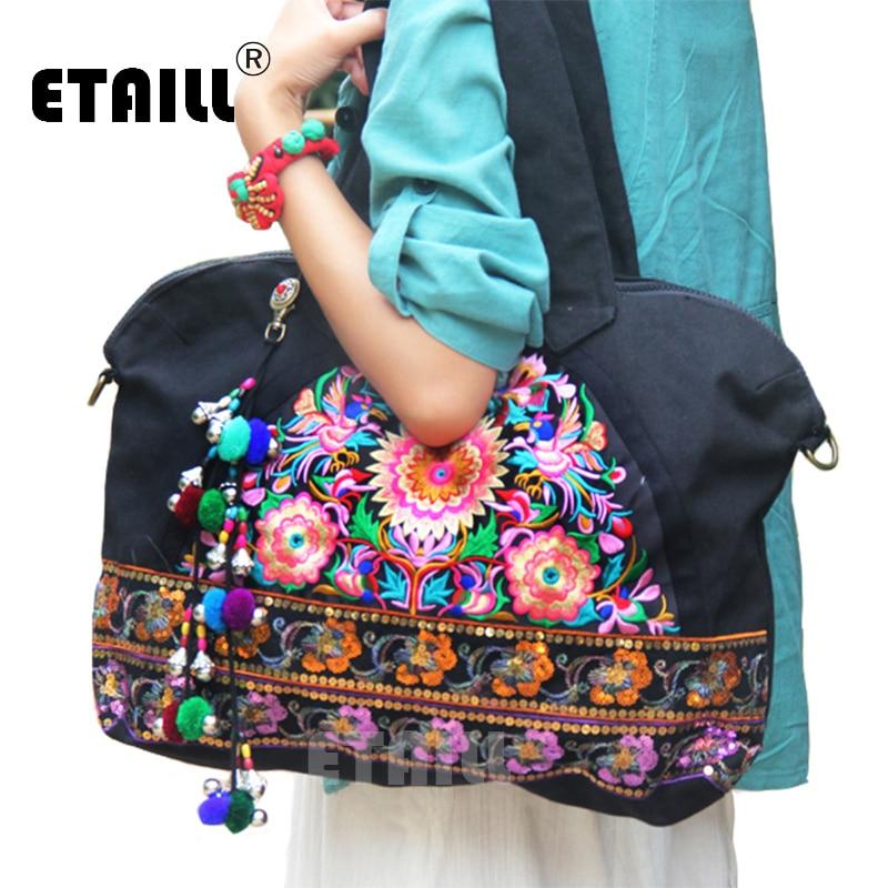 5550d1840a0f Винтаж хмонгов ручной работы вышитые сумки Для женщин блестками известный  бренд Сумки на плечо высокое качество SAC Femme bordado Bolsa