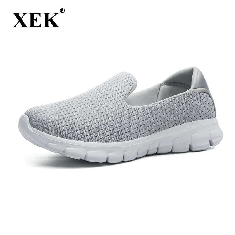 XEK 2018 New Breathable Walking Shoes Soft Bottom Women Sneakers Light Casual Shoes For Women Flat Shoes JH123 bimuduiyu new england style men s carrefour flat casual shoes minimalist breathable soft leisure men lazy drivng walking loafer