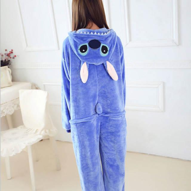 089b4bcb48 placeholder Women Character Stitch Pajamas Set Adult Coral Fleece Sleepwear  Animal Pajama Womens Full Sleeve Hooded Pijama