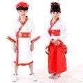Alta Calidad Exquisita Niños Imitó la Tela De Seda Del Pavo Real Impresión Del Kimono de Estilo Japonés Niños Traje de la Danza Niños Apoyos de la Foto
