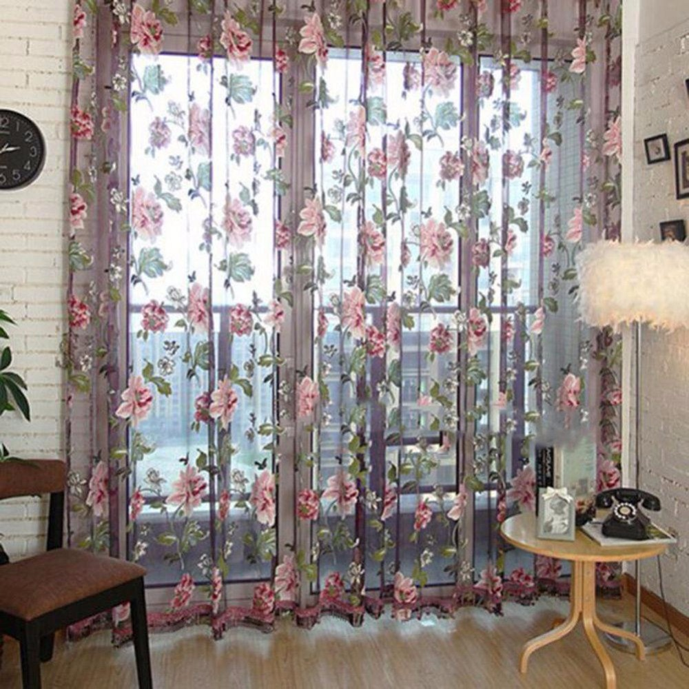 2pcs Lot Rose Flower Curtains Anti Mosquito Mesh Net Tulle D Sheer Panel Screen Door Kitchen Window Treatment Blind