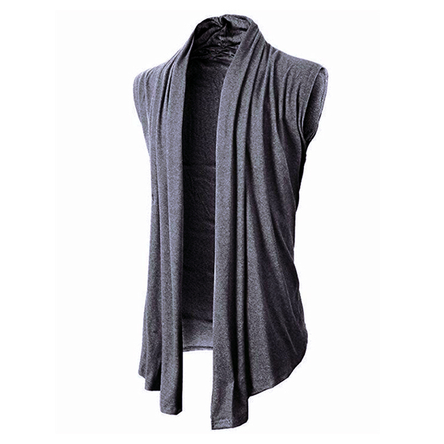 Punk Mens Cardigan Sleeveless Long Jacket Coat Irregular Hem HipHop Casual Shawl Waistcoat Vest Top Fashion Summer Autumn Hombre