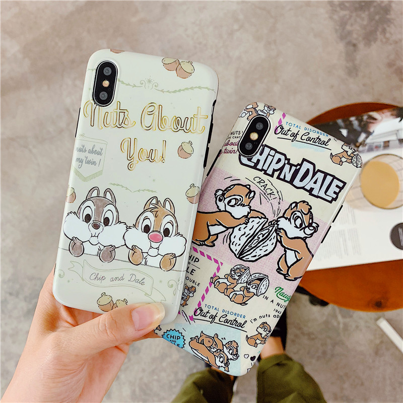 Lovely Cartoon Chipmunk Chip And Dale Squirrel Mouse Soft IMD Cover Case For iPhone XS Max XR X 6 6S 7 8 Plus Fundas coque