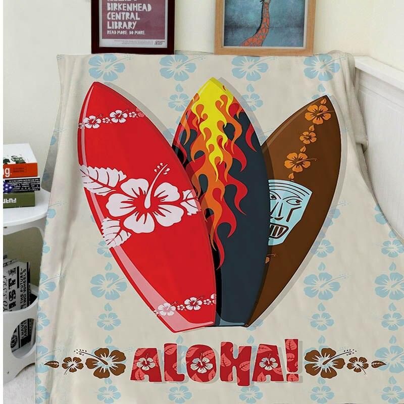 Couvertures confort chaleur doux confortable climatisation facile d'entretien lavage en Machine cadeaux hawaïens Aloha Hawaii planches de surf