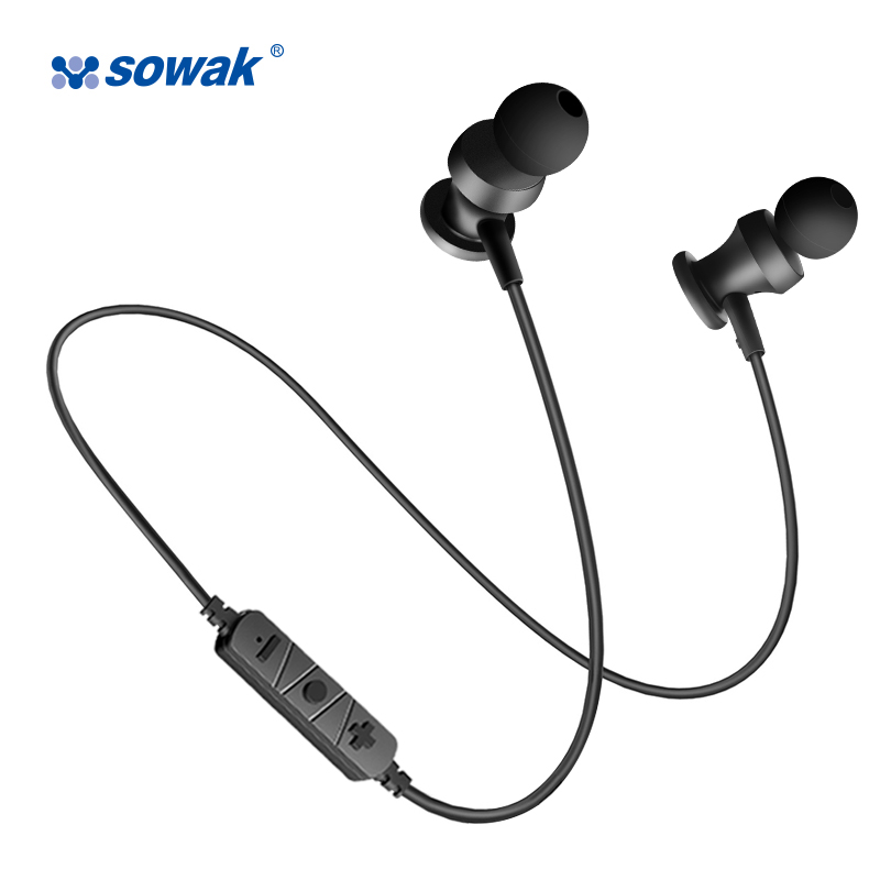 SOWAK S2 Bluetooth headset Wireless Sports Earphone Stereo with magnetic Remote control Microphone for gaming