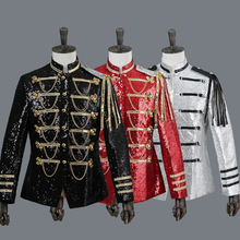 Men Suit Jacket 2019 Casual Formal Blazer Stage Costumes For Singers Performance Red Mens Dress suits Jackets Sequin Clothes S