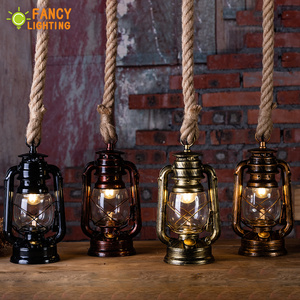 Image 4 - Vintage Kerosene Pendant Lamp With Free Bulb E27 Hemp Rope Hanging Lamp for Home/Bedroom/Living room Industrial Pendant Lights