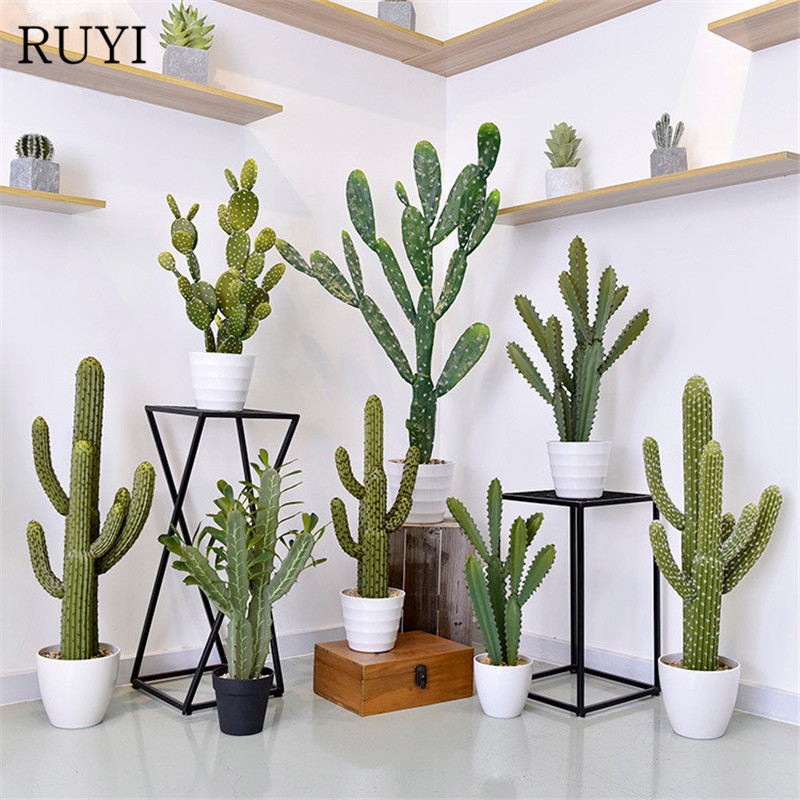 PU Simulation Cactus Tropical Plant Fake Flower Succulent Plant Artificial Cactus Pot Photography Props Living Room