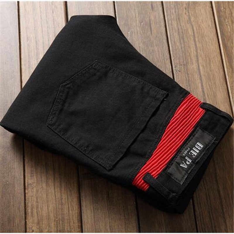 b2649cf5 ... Fashion high quality patchwork black red patch jeans for men with zipper  slim straight stretch bikers
