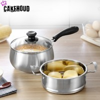 CAKEHOUD Stainless Steel Thickening Soup Pot Steamer Multi function Baby Food Supplement Double Cooking Pot With Steamer