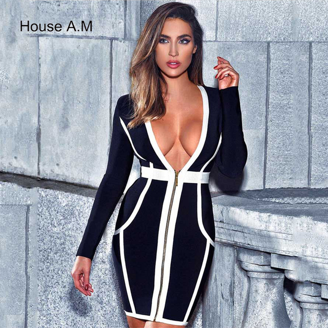 2018 New Women Sexy Dress Deep V Neck Slim Tight Female Sexy Party Club Bandage Dresses Bodycon Sheath Pack Hip Mini Dress
