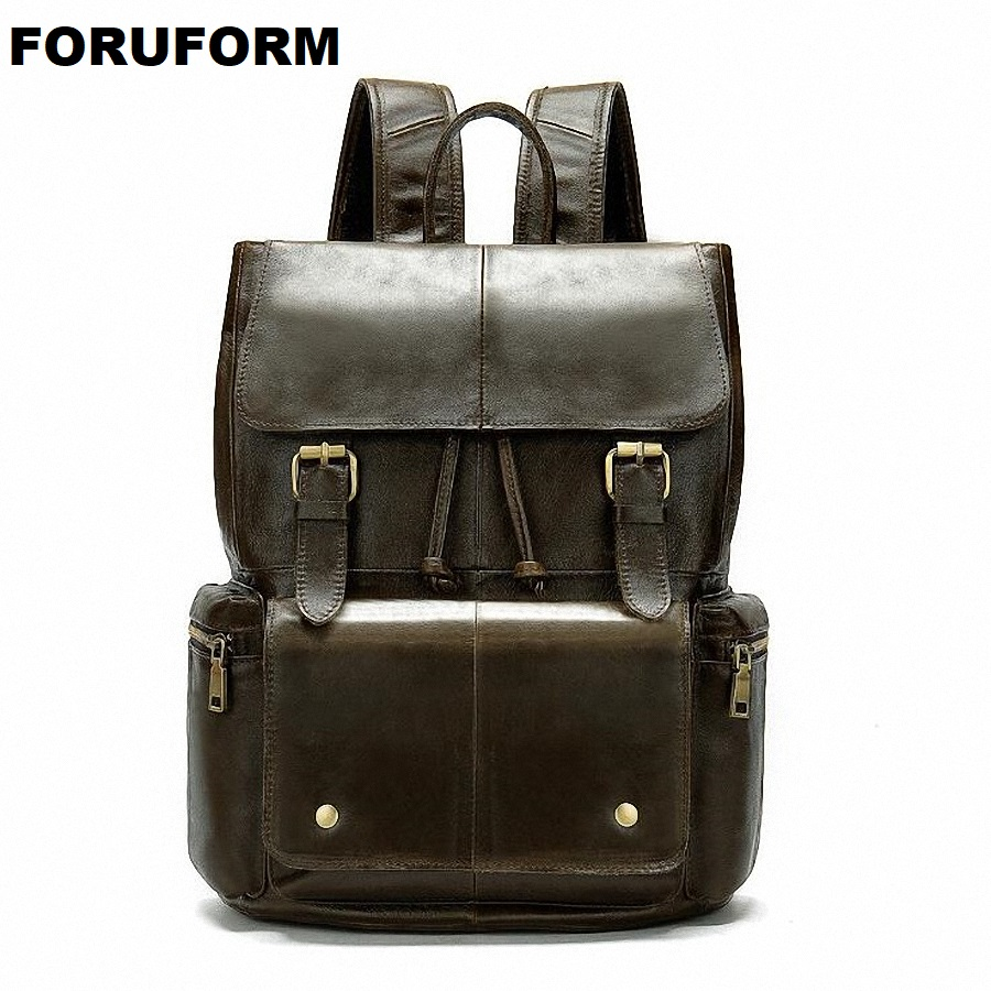 Fashion Men 100% Genuine Leather Backpack Male High Quality Waterproof Bagpack 14 inch Laptop Backpack Travel School Bag LI-2420Fashion Men 100% Genuine Leather Backpack Male High Quality Waterproof Bagpack 14 inch Laptop Backpack Travel School Bag LI-2420