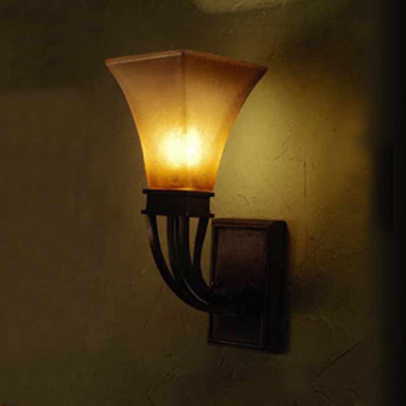 American retro big wall long rod wall antique rural staircase aisle lamp wall lamp post  ...