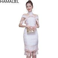 HAMALIEL High Quality Luxury Summer Dress New 2017 Designer Off Shouler Tassel Jacquard Stand Collar Print
