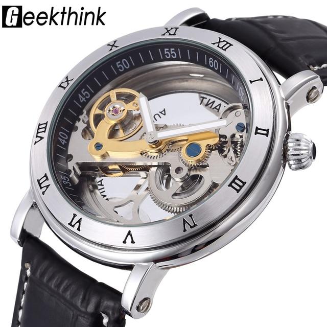f9809a92295 Top marca Skeleton Tourbillon Relógio Mecânico automático dos homens de  negócios de luxo dos homens relógio