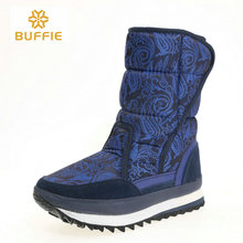 青ブーツダーク色女性の靴の冬暖かいインソール雪のブーツサイズビッグ見栄え生地アッパーゴムとevaアウトソールスリップ