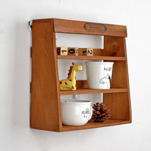 Retro Wooden Wall Hanging Storage Holder Bedside Three-layer Sorting Rack