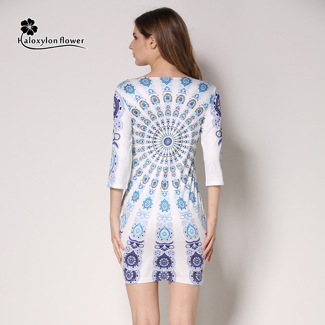 2016 New Summer Dress Women's Fashion Vintage Character Round Neck Print Half Sleeve Party Bodycon Dress Casual Mini Dress