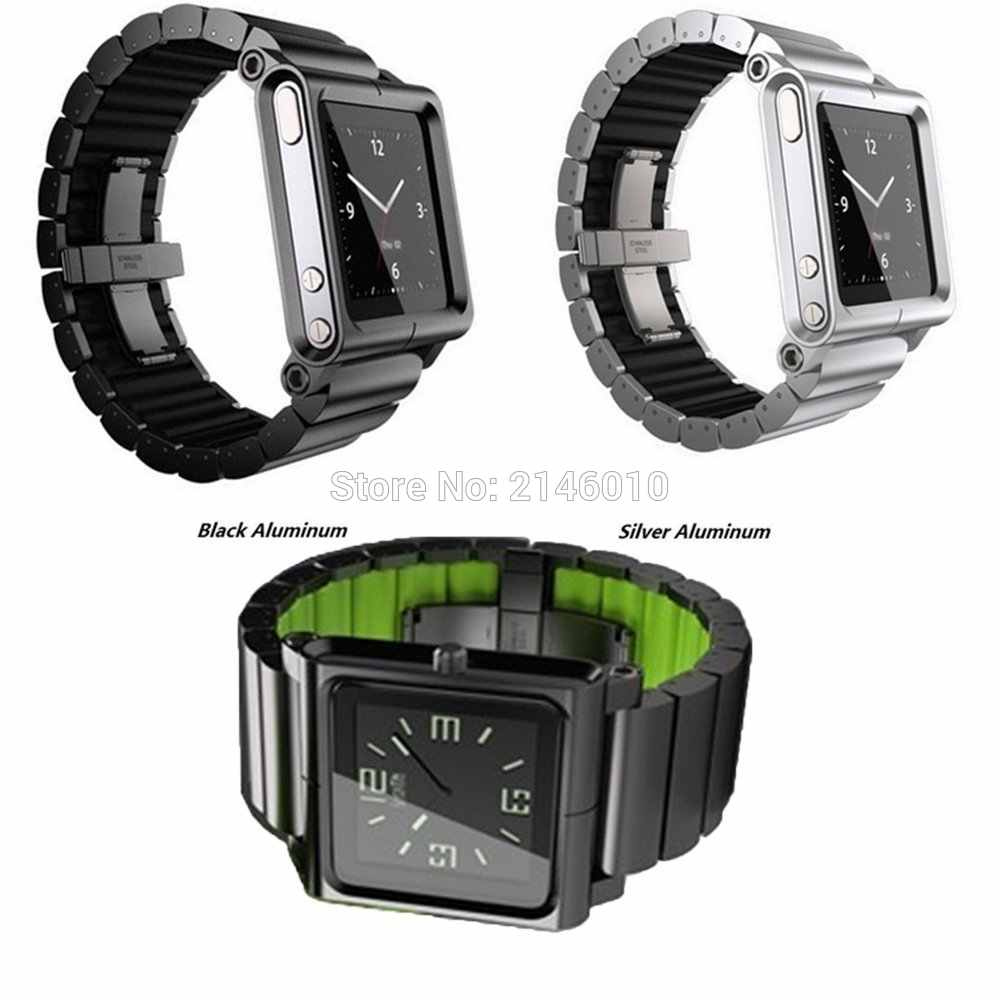 Aluminium & plastik Kaku Multi-touch Wrist Watch Band kit Tali Gelang untuk iPod Nano 6 6th
