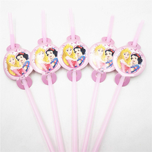 6pcs/set Cute Princess straw cartoon birthday party favors children gifts kids supplies celebration decoration