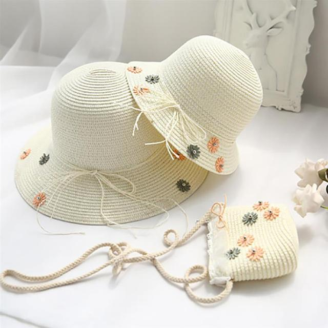dad7fd46 Fashion Woven Beach Hat Foldable UV Protection Floppy Straw Hat with  Bow-knot Tie Flowers Sun Hat Summer Cap for Adults Kids