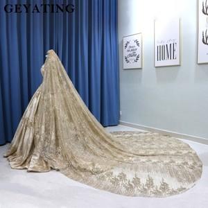 Image 3 - Robe de mariée princesse en paillettes scintillantes dorées, Corset, manches longues, Corset, avec voiles de 3M, Dubai 2020
