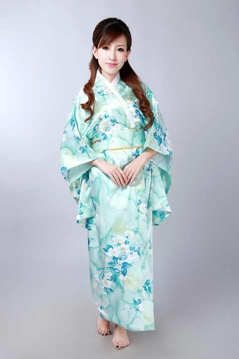 Hot bán Ánh Sáng màu xanh Phụ Nữ Nhật Bản của Silk Satin Kimono Yukata Evening Dress Flower Miễn Phí Vận Chuyển Một Kích Thước H0047