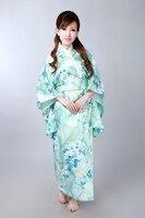 Hot sell Light blue Japanese Women's Silk Satin Kimono Yukata Evening Dress Flower Free Shipping One Size H0047