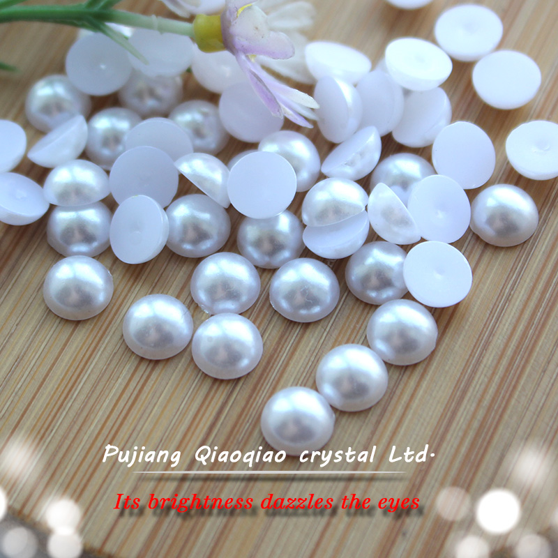 White Half Round Nail Pearl Flatback Resin Imitation Pearls For 3D Nails Art Decorations 1 5 10mm white ab resin half round craft abs imitation pearls scrapbook beads for 3d nails art backpack diy design decorations